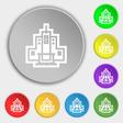 skyscraper icon sign Symbol on eight flat buttons vector image vector image