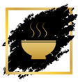 soup sign golden icon at black spot vector image vector image