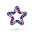 star with american flag color and symbol design vector image vector image