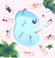 summer pool people at swimming pool top view vector image vector image