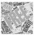 The Benefits of Free Advertising Word Cloud vector image vector image