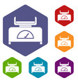 weight scale icons set hexagon vector image vector image