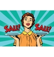 Woman sale on a tray vector image vector image