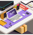 workplace office work objects on table isometric vector image vector image