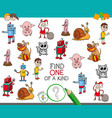 one of a kind game with cartoon characters vector image