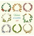 Hand drawn wreaths colored set vector image