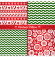 set christmas seamless patterns of red and green vector image