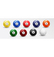 billiard balls set on white background vector image vector image