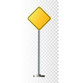 blank yellow road sign or empty traffic signs vector image