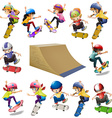 Boys and girls skateboarding on the ramp vector image vector image