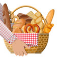 bread icons and wicker basket in hand vector image vector image