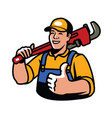 builder with plumbing wrench symbol construction vector image