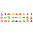 cartoon game icons with seashell colorful vector image vector image