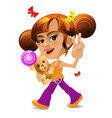 cartoon girl with a teddy bear and a candy eps10 vector image vector image