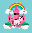 cartoon unicorn castle and rainbow and unicorn vector image