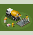 concrete production isometric composition vector image vector image