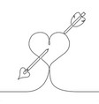 continuous line drawing heart pierced by an arrow vector image