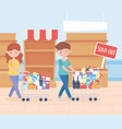 couple with cart full food products sold out vector image