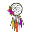 dream catcher with feathers and flowers vector image vector image