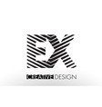 ex e x lines letter design with creative elegant vector image vector image