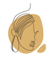 female portrait in in continuous line art vector image vector image