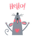 greeting card with a cute rat sweet mouse says vector image vector image