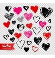 Grunge Valentine hearts on transparency background