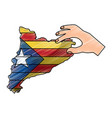 hand holding map of catalonia independent vector image