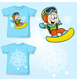 kid shirt with snowboarder printed - back and vector image
