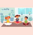 kids meditation children yoga kindergarten sport vector image
