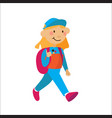 little flat girl with rucksuck walking isolated on vector image