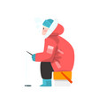 man fishing in a frozen river extremal ice winter vector image vector image