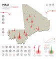 map mali epidemic and quarantine emergency vector image
