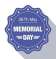 memorial day blue label vector image vector image