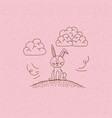 monochrome hand drawn landscape of bunny sitting vector image vector image