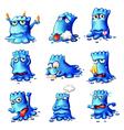 Nine blue monsters vector image