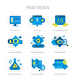 paid media flat icons vector image vector image