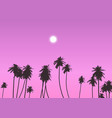 palm trees against sunset sky vector image