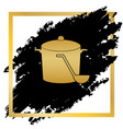 pan with steam sign golden icon at black vector image vector image
