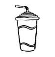 paper cup soda line icon soda drink outline vector image