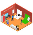 photo studio interior with furniture isometric vector image vector image