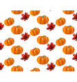 pumpkin pattern background leaves autumn vector image vector image