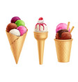 realistic ice cream set vector image vector image