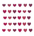 set of different flat colorful hearts vector image