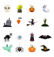 set of halloween feast collection of attributes vector image vector image