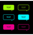 Set of six neon speech bubbles Black background vector image vector image