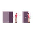 set of young male office worker opening the door vector image vector image