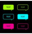 set six neon speech bubbles black background vector image