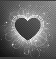 silver heart shaped frame vector image vector image