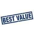 square grunge blue best value stamp vector image vector image